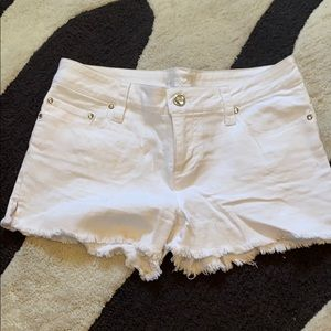 Pants - Rhinestone embellished White colored jean shorts
